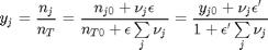 $$y_j = \frac{n_j}{n_T} = \frac{n_{j0} + \nu_j \epsilon}{n_{T0} +\epsilon \sum\limits_j \nu_j}= \frac{y_{j0} + \nu_j \epsilon'}{1 + \epsilon'\sum\limits_j \nu_j}$$